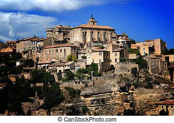ville, ancien, moyen-âge, gordes, france, 3, sommet colline