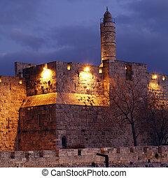 ville, ancien, vieux, intérieur, jérusalem, nuit, citadelle