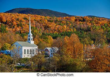 ville, angleterre, iconique, stowe, automne, église, nouveau