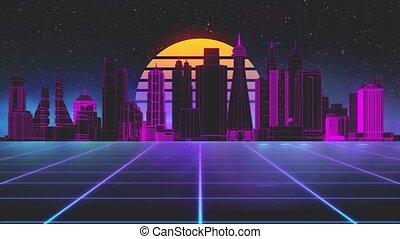 ville, animation, sci-fi, incandescent, stylisé, retro, seamless, futuriste, vendange, fond, moderne, soleil, stars., 3d, loop., 80s