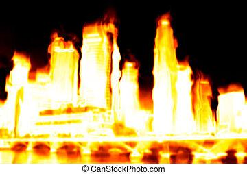 ville, apocalypse, brûlé
