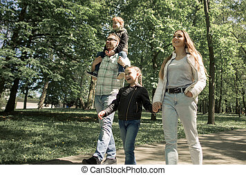 ville, apprécie, park., famille, promenade