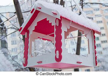 ville, arbre hiver, neige, nourrisseur, pendre, couvert, oiseau, rouges