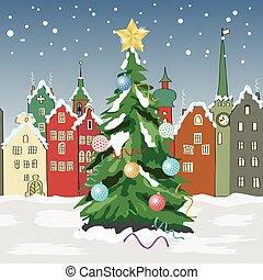 ville, arbre hiver, noël, petit, jour