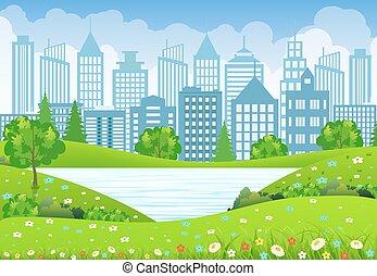 ville, arbre, lac, vert, fleurs, paysage