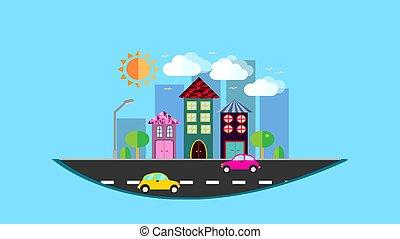 ville, arbres, nuages, voitures, toit, bleu, ville, style, arrière-plan., pendre, incliner, plat, route, illustration, carreau, soleil, oiseaux, maisons, air, vecteur, après-midi, petit, lanterne
