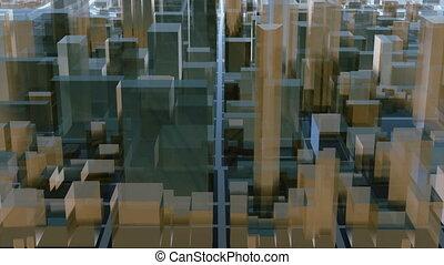 ville, architectural, résumé, en ville, fond, 3d