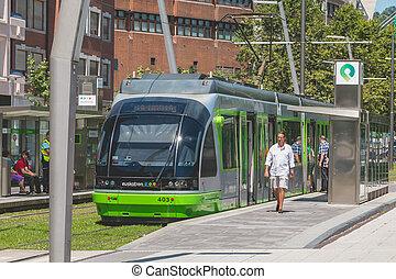 ville, arrêts, bilbao, station, tramway, espagne