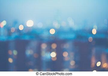 ville, arrière plan flou, lumières