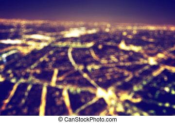 ville, arrière-plan., grand, nuit, bokeh, lumières, vendange, brouillé