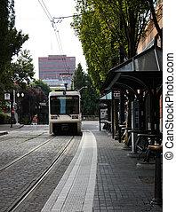 ville, arrive, autobus