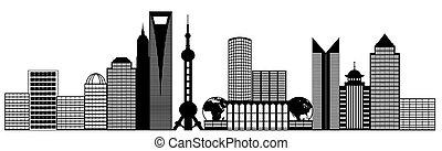 ville, art, agrafe, panorama, shanghai, pudong, horizon
