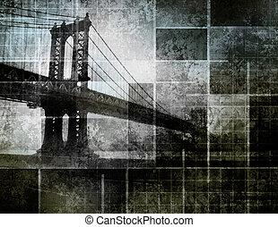 ville, art, pont, inspiré, moderne, york, nouveau