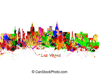 ville, art, usa, aquarelle, horizon, vegas, impression,...