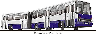 ville, articulé, autobus