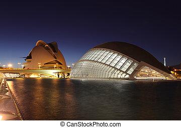 ville, arts, (ciudad, artes, de, sciences, complexe, architectural, ciencias), y, valence, las