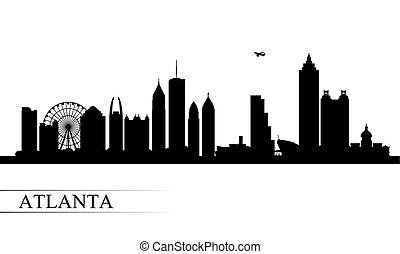 ville, atlanta, silhouette, horizon, fond