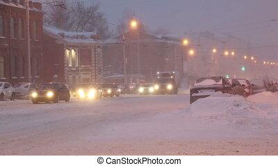 ville, aube, rue, tempête neige, voitures