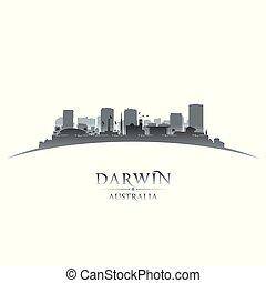 ville, australie, silhouette, fond, blanc, darwin