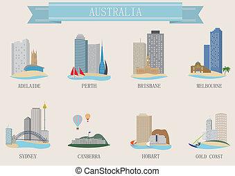 ville, australie, symbole.