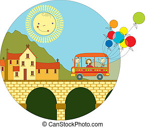 ville, autobus, voyage
