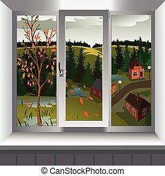 ville, automne, fenêtre, hill., paysage, vue