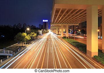 ville, autoroute, nuit