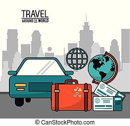 ville, autour de, voiture, voyage, valise, mondiale, billet, globe