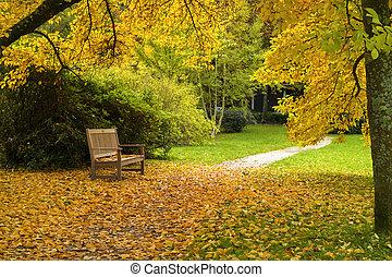 ville, autumn., garez banc