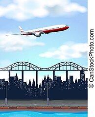 ville, avion, au-dessus