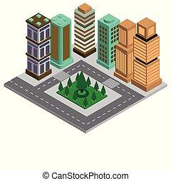 ville, bâtiment, 3d, isométrique, appartement, conception, moderne, intelligent