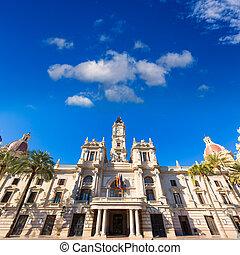 ville, bâtiment, ayuntamiento, ville, valence, salle, espagne