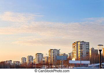 ville, bâtiments, appartement, résidentiel, coucher soleil, trimestre