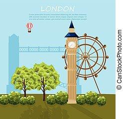 ville, bâtiments, attractions, façades, arrière-plan., londres, architecture, vector.