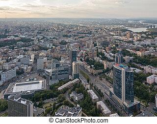 ville, bâtiments, city., panoramique, aérien, kiev, moderne, ukraine, bourdon, central, vieux, partie, vue