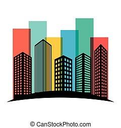 ville, bâtiments, coloré, autocollant, scène, ligne