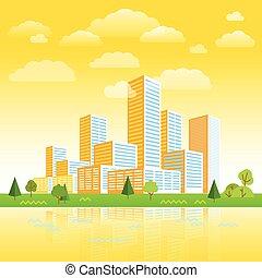 ville, bâtiments, concept, moderne, district., illustration, perspective., minimalisme