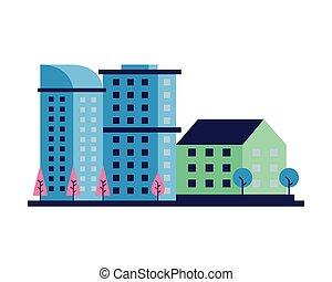ville, bâtiments, constructions, scène, arbres