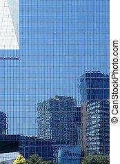 ville, bâtiments, dallas, en ville, gratte-ciel, miroir