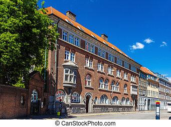 ville, bâtiments, danemark, centre, copenhague