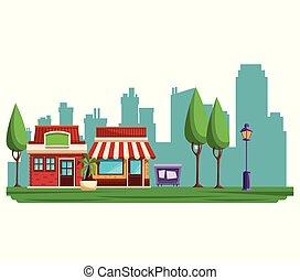 ville, bâtiments, dessin animé