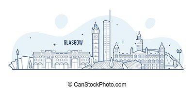 ville, bâtiments, ecosse, horizon, vecteur, royaume-uni, ...