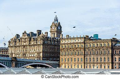 ville, bâtiments, edimbourg, ecosse, centre, -, historique