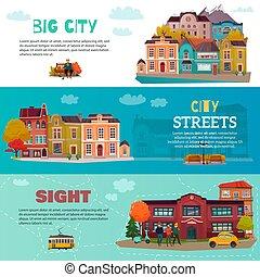 ville, bâtiments, ensemble, bannières horizontales