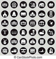 ville, bâtiments, ensemble, icône