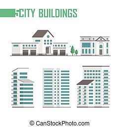 ville, bâtiments, ensemble, icônes, -, illustration, vecteur, cinq