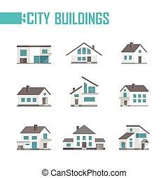 ville, bâtiments, ensemble, icônes, -, illustration, vecteur, neuf, petit