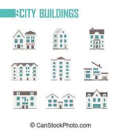 ville, bâtiments, ensemble, icônes, -, illustration, vecteur, neuf
