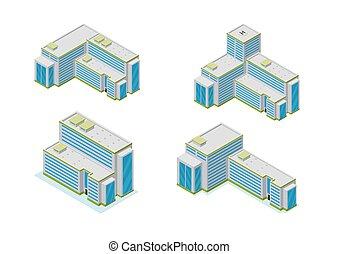 ville bâtiments, ensemble, isométrique, gratte-ciel, icône