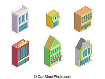 ville bâtiments, ensemble, isométrique, icône, magasin
